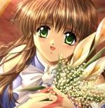 صورة انمي مع باقه الورود