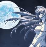 صورة انمي مع القمر