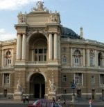 The Italian baroque façade of the Odessa Opera and Ballet Theater