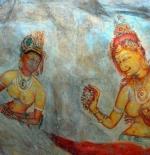 Sigiriya (Lion rock), old frescoes