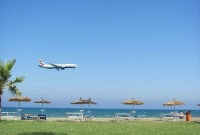 Larnaca International Airport next to the beach