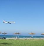 Larnaca International Airport next to the beach