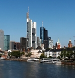 Frankfurt skyline and Main river with excursion boats