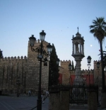 Near the Alcazar Palace of Seville at dusk
